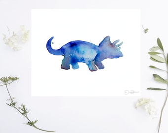 """Triceratops Watercolor Print   """"Mr. T"""" by Jess Buhman, Choose Your Size, Select Your Size, Dinosaur Art"""