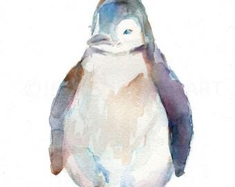 Penguin Watercolor Painting Print, Print of Penguin, Winter Painting, Winter Print, Christmas Painting, Baby Penguin Art, Baby Animal Art