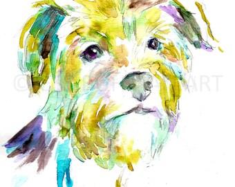 Terrier Dog Watercolor Print, Terrier Painting, Print of Dog, Watercolor Terrier, Watercolor Dog Print, Dog Painting, Watercolor Dog Art