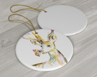 "Ceramic Deer Ornament | ""Stay Golden Deer"" by Jess Buhman, Deer Christmas Ornament"