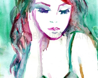 Portrait of Woman Watercolor Painting Print, Watercolor Portrait, Watercolor Woman, Painting of Woman, Fashion Illustration, Art for Her