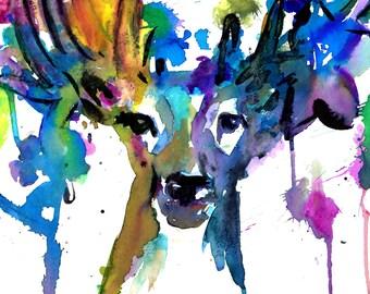 Deer Watercolor Print, Abstract Watercolor Deer, Buck Painting, Buck Watercolor, Abstract Buck Art, Deer with Flowers, Print of Deer