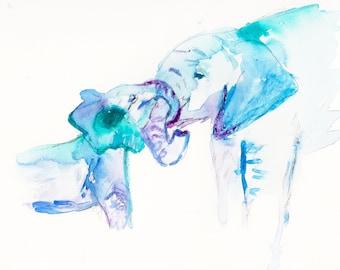 Elephant Watercolor Print, Elephant Love Painting, Baby Elephant Art, Nursery Art, Elephant Watercolor Painting, Zoo Animal Art