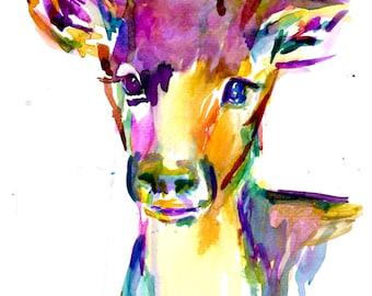 Colorful Deer Watercolor Print, Print of Deer, Deer Painting, Deer Watercolor, Nursery Art, Young Deer Painting, Buck Painting, Buck Print