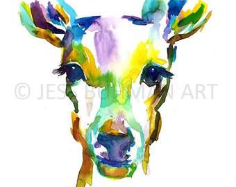 Deer Watercolor Print, Deer Painting, Deer Art, Print of Deer, Doe Painting, Doe Watercolor, Colorful Deer Art, Abstract Deer Painting