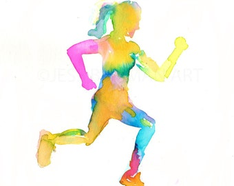 Watercolor Print of Runner, Running Painting, Jogger Watercolor Print, Art for Runners, Watercolor Woman Print, Print for Athlete