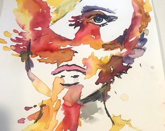 "Watercolor Phoenix Woman ""She Will Rise"" by Jess Buhman, 11"" x 14"" Watercolor Bird Painting, Hope Painting, Optimism Art"
