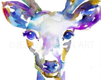 Buck Watercolor Painting Print, Deer Painting, Print of Deer, Nursery Art, Watercolor Art, Watercolor Print, Deer Print, Antlers Pai