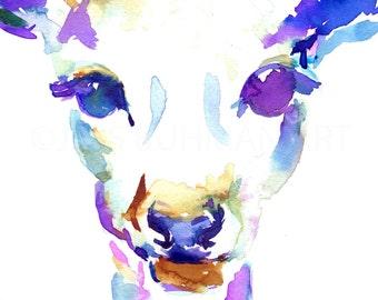 Deer Watercolor Painting Print, Print of Doe, Doe Watercolor, Deer Painting, Deer Watercolor, Print of Deer, Nursery Art, Animal Painting