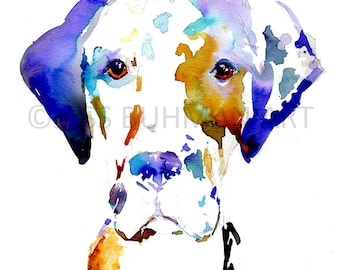 """Print of Watercolor Painting """"Hank the Great Dane"""" 8 x 10 Pet Dog Painting Great Dane Puppy Blue Purple"""