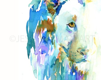 Lion by Jessica Buhman, Print of Original Watercolor Painting, 8 x 10 Lion Lioness Blue Green Purple Brown Yellow Safari