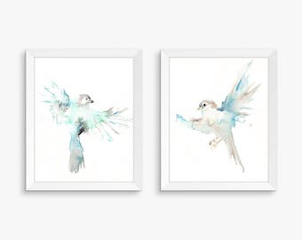 Airy Birds, Set of 2 Watercolor Prints, Nursery Art, Watercolor Nursery Prints, Animal Paintings, Animal Art, Print Set, Forest Animals