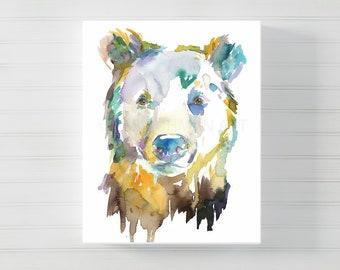 "Bear Watercolor Canvas Print | ""Bear"" by Jess Buhman, Multiple Sizes, Bear Painting, Bear Print, Canvas Art, Zoo Animal, Nursery Animal Art"