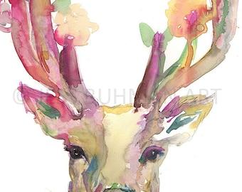 "Watercolor Deer Print | ""You Are Deer To Me"" by Jess Buhman, Multiple Sizes, Select Your Size, Print of Deer, Deer Watercolor, Buck Art"