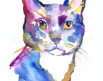 "Cat Watercolor Painting, ""Wolfgar"" by Jessica Buhman, Black Cat Painting, Black Cat Watercolor, Print of Cat, Cat Print, Black Cat Art"
