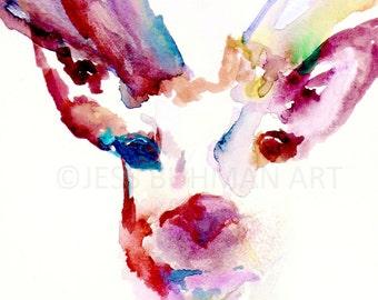 Deer Watercolor Painting Print, Buck Painting, Buck Watercolor, Antlers Painting, Print of Deer, Deer Painting, Nursery Art, Woodland Print