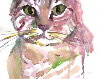 Tabby Cat Watercolor Print, Print of Tabby Cat, Cat Painting, Watercolor Cat, Watercolor Pet, Print of Cat, Cat Illlustration, Abstrract Art