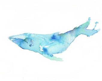 Humpback Watercolor Print, Humpback Painting, Whale Painting, Ocean Art, Ocean Animal Art, Nursery Art, Ocean Painting, Watercolor Animals