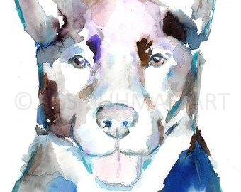 """Watercolor Dog Painting, """"Ava"""" by Jessica Buhman, Multiple Sizes, Select Your Size, Custom Pet Painting"""