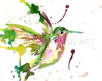 Hummingbird Watercolor Print, Print of Hummingbird, Hummingbird Painting, Cabin Painting, Cabin Art, Nursery Art, Woodland Print, Bird Art