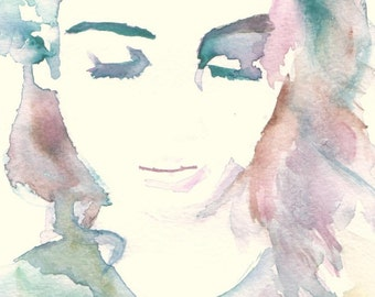 """Portrait of Woman Watercolor Print, """"Sophia"""" by Jessica Buhman, Painting of Woman, Watercolor Print. Fashion Illustration, Print for Her"""