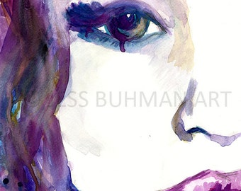 Fashion Illustration Print, Watercolor Print of Woman, Watercolor Portrait, Illustration of Woman, Print of Woman, Emotion Painting
