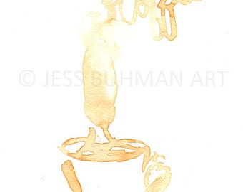 Morning Bliss by Jessica Buhman, Print of Original Coffee Painting, 8 x 10 Brown Coffee Cup Watercolor Painting