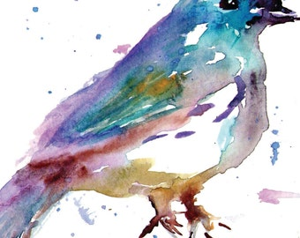 "Print of Original Watercolor Painting, Titled: ""Gunther, the Bird"" by Jessica Buhman 8 x 10 Blue Grey Gray Black Purple Turquoise"