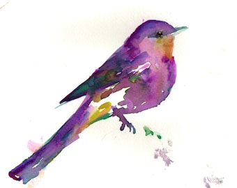 "Print of Original Watercolor Painting, Titled: ""Delaney the Zany Bird"" by Jessica Buhman 8 x 10 Pink Purple Yellow Fuschia"