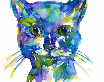 Watercolor Cat Print, Print of Cat Painting, Watercolor Pet, Pet Painting, Cat Painting, Abstract Cat, Black Cat Painting, Black Cat Print