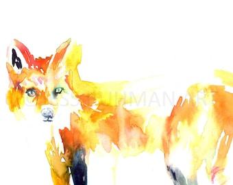 "Fox Watercolor Print, ""Fox"" by Jess Buhman, 10 x 8 Print of Animal Painting, Nursery Art"