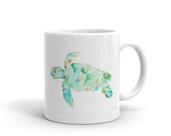 Sea Turtle Ceramic Mug with Artwork by Jess Buhman