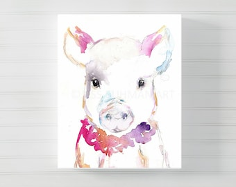 "Canvas Pig Art | ""Petunia the Pig"" by Jess Buhman, Multiple Sizes, Select Your Size, Pig Painting, Farm Animal, Nursery Animal Art"