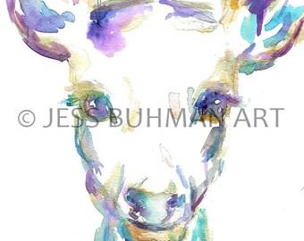 Deer Watercolor Print, Print of Deer Painting, Deer Illustration, Nursery Art, Gold Deer Painting, Gold Deer Art, Print of Animal, Deer Art