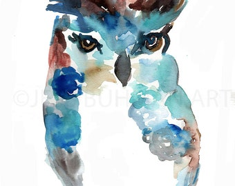 """Print of Original Watercolor Painting, Titled: """"Oscar the Owl"""" by Jessica Buhman 8 x 10 Blue Owl Turquoise Purple Green"""