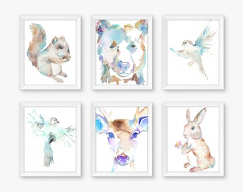 Airy Woodland Set of 6 Watercolor Prints, Nursery Art, Watercolor Nursery Prints, Animal Paintings, Animal Art, Print Set, Forest Animals