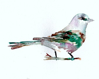 "Watercolor Bird Print | ""Belle the Bird"" by Jess Buhman, Multiple Sizes, Select Your Size, Colorful Bird Art, Watercolor Decor"