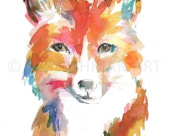 "Fox Watercolor Painting Print, ""Finn the Fox"" by Jess Buhman, Multiple Sizes, Select Your Size, Nursery Art, Woodland Art, Animal Watercolor"