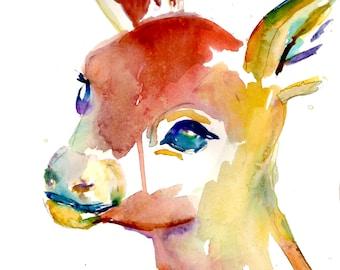 Deer Watercolor Print, Baby Deer Painting, Fawn Painting, Deer Illustration, Abstract Deer Art, Colorful Deer, Print of Deer, Nursery Art