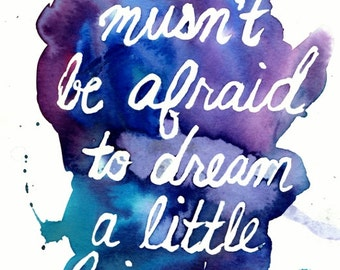 "Print of Original Watercolor Painting, Titled: ""Dream A Little Bigger"" by Jessica Buhman 8 x 10 Blue Purple Turquoise Inspire Dream Hope"