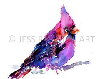 "Print of Original Watercolor Painting, Titled: ""Cardinal"" by Jessica Buhman 8 x 10 Red Cardinal"