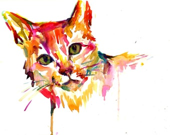 Cat Watercolor Painting Print, Print of Cat, Cat illustration, Cat Painting, Abstract Cat Art, Colorful Cat Painting, Pet Painting, Cat Art
