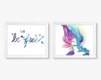 "Be Free, Set of 2 Watercolor Prints, Portrait of Woman, Freedom, Watercolor Art, Freedom Painting, Motivational Painting, 8"" x 10"" prints"