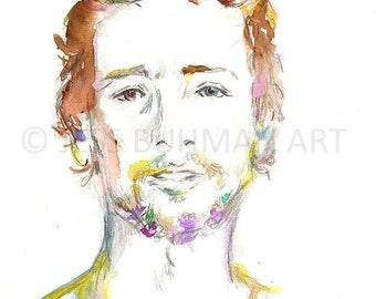 Floral Beard Painting, Portrait of Man, Watercolor Illustration, Watercolor Portrait, Watercolor Print, Print of Man, Beard Painting