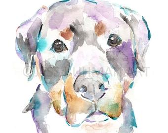 "Rottweiler, ""Clyde the Rottweiler"" Dog painting, Print of Rottweiler, Dog Illustration, Custom Dog Painting, Colorful Rottweiler Art"