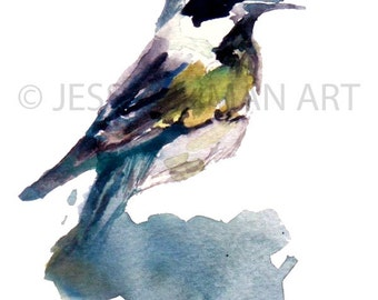 """Print of Original Watercolor Painting, Titled: """"Chester the Bird"""" by Jessica Buhman 8 x 10 Blue Yellow Green Grey"""