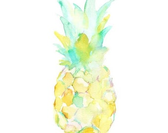 Pineapple by Jessica Buhman, Print of Original Watercolor Painting, 8 x 10 Yellow Pineapple Fruit Painting
