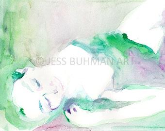 Lust by Jessica Buhman, Print of Original Watercolor Painting, 8 x 10 Dramatic Vogue Purple Boudoir Green Blue Pink