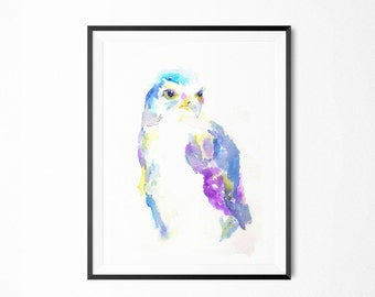 Hawk Watercolor Print, Hawk Painting, Minimalist Print, Minimalist Art, Abstract Hawk Art, Animal Painting, Colorful Animal Art, Hawk Art