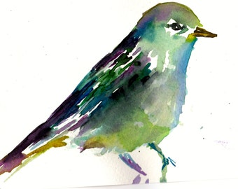 "Print of Original Watercolor Painting, Titled: ""Milo the Bird"" by Jessica Buhman 8 x 10 Yellow Blue Purple Pink Green Bird Warbler"